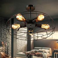 install led leuchten decke großhandel-Vintage Retro Industrial Fan Deckenleuchten American Country Kitchen Loft Lampe Eisen Material Installieren 5 stücke E27 Edison Glühbirnen