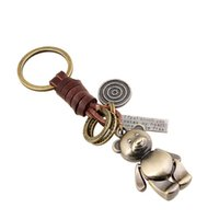 Wholesale Girls Pu Leather Handbags - Women Fashion Cute Bronze Color Bear Keychain Handbags Pendant PU Leather Key Chains Key Ring Holder Jewellery 340018