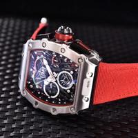 часы хронограф механическая кожа оптовых-Высокое качество мужская мода японский механизм механический автоматический Кожаный ремешок часы 904l водонепроницаемый хронограф наручные часы