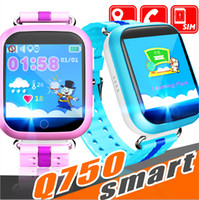pantalla táctil gps tracker al por mayor-Q750 Kids Smart Watch 1.54 pulgadas de pantalla táctil GPS Wifi LBS Monitor SOS Call Safe Anti-Lost Localización del dispositivo para el niño niño bady Smart wa