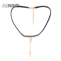 стальные ювелирные изделия выросли оптовых-AENINE Fashion Double Cross Leather Rope Chokers Necklace Jewelry Rose Gold Color Stainless Steel Neckalce For Women Gift APX026