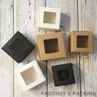 ingrosso scatole trasparenti favorisce-Scatole di sapone di finestra di scatola di scatola di carta di Kraft di 50pcs di scatola di scatola di regalo di gioielli di scatola di regalo all'ingrosso di all'ingrosso Bomboniere Bomboniere