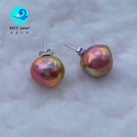 Wholesale huge stud earrings resale online - metallic purple Genuine x15mm Huge size Baroque shaped Freshwater pearl earrings studs Sterling Silver