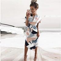 Wholesale White Bodycon - Summer Style Dress 2017 Casual Asymmetrical Geometric Printing Short Sash Knee-Length Dress O-Neck Elegant Women Dresses