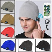 Wholesale Headset Decorations - Wireless Bluetooth Smart Cap Soft Warm Beanie Hat Party Hats BT Headset Headphone Speaker Mic Bluetooth Hat 200pcs