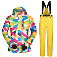 Wholesale-2017 New High Quality Women Skiing Jaquetas e calças Snowboard conjuntos Thick Warm Waterproof Windproof Winter feminino Ski Suit