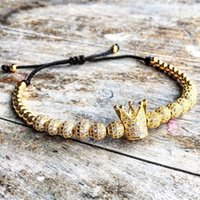 Wholesale gold braid bracelet - New Zircon Bracelets Men Jewelry Cubic Micro Pave CZ Crown Charm & 4mm Round Beads Braided Macrame Bracelet