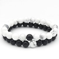 ingrosso braccialetto di coppia bianco nero-Marcatsa Coppie Classic Black White Natural Stone Beads Love Braccialetti per donna Chakra Energy Healing Bracelet Charm Jewelry