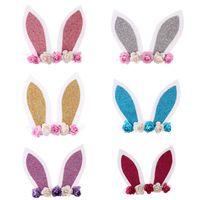 bandeaux oreilles de lapin achat en gros de-Bébé Bandeaux filles oreilles de lapin Bandeau lapin dessin animé bandes fleur tête Serre-têtes mignon Accessoires cheveux C3893
