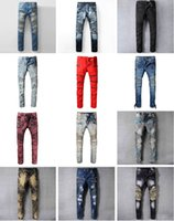 Wholesale European Runway - New France Pierre Ripped Jeans Men Runway Biker Skinny Slim Denim Trousers Cowboy Famous Brand Zipper Designer Hot Sale Mens Designer Jeans