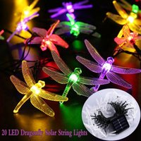 Wholesale dragonfly solar - 20 LED Solar String Fairy Lights Dragonfly Multi Color Outdoor Garden Lighting