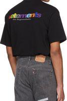 gökkuşağısı şort erkek toptan satış-Vetements 2018 yeni renkler gökkuşağı logo renk mektubu adam ve kadın T-Shirt Yuvarlak yaka tee unisex kısa kollu S-XL Ücretsiz kargo