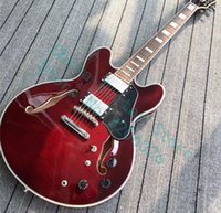 Wholesale custom string jazz guitar resale online - Custom Shop Wine Red Semi Hollow Flame Maple Top Jazz Electric Guitar Chrome Hardware White MOP Block inlay Grover Tuners
