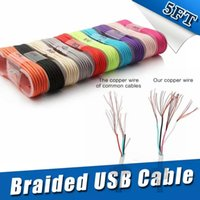 Wholesale Led Cable Charger - New 1.5M Micro USB V8 Aluminum Metal Nylon Braided Woven Data Cables Charger Charging Cable Wire Cords Leads OM-O3