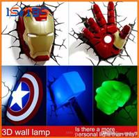 lampe murale chambre à coucher achat en gros de-Marvel avengers LED chambre à coucher salon chambre 3D lampe murale créative décorée avec lumières nuit lumière