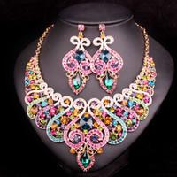 китайская одежда ручной работы оптовых-whole saleFashion  Bridal Jewelry Sets Wedding Necklace Earring set For Brides bridesmaid Party Accessories Crystal Decoration women