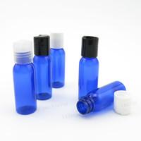 Wholesale cobalt blue bottle wholesale - Cobalt Blue 30ml Travel Cosmetic Cream Bottle With Disc Cap 1oz PET Plastic Packaging