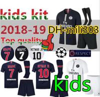 Wholesale blue gold boys online - 18 Paris kids kit Maillot de MBAPPE soccer jerseys PSG CAVANI Paris saint germain child football shirt camisetas uniform
