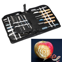 Wholesale Carving Fruit Vegetables Tools - 46pcs Portable Culinary Carving Tool Stainless Steel Set Vegetable Fruit Essential Carving Garnishing Slicing Kitchen Sets Fp8