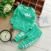 frühlingskleidung für jungen großhandel-Marke Baby Boy Kleidung Anzüge Herbst Lässige Babykleidung Sets Kinder Anzug Sweatshirts + Sporthosen Frühling Kinder Set