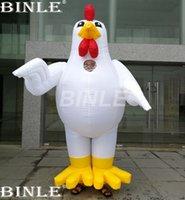 trajes personalizados pollo al por mayor-Por encargo de alta calidad 2.1 m traje de pollo inflable gigante inflable gallo personaje de dibujos animados trajes de caminar para adultos