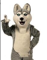 ingrosso cane costumi adulti-2018 di alta qualità Fancy Gray Dog Husky Dog con l'aspetto di Wolf Mascot Costume Mascotte adulti Cartoon Character Party spedizione gratuita