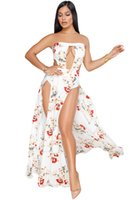 Wholesale Girl Strapless Jumpsuit - lady beach wear woman clothes bohemian dinner party girl Sexy chic Maxi Romper Floral Print Slit Legs Strapless Jumpsuits 64394