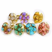 Wholesale rainbow druzy - Druzy Fashion Wedding rainbow Rings for Women Rose-Color Crystal Cubic Quartz Amethysts Ring Vintage Jewelry Free Shipping