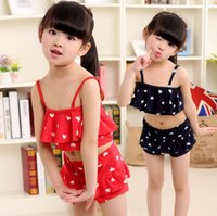 Wholesale toddlers polka dots dresses - cute polka dot girls swimming clothes girls swimwear 2pcs set bikini beach dress bathing suit toddlers girls swimsuits