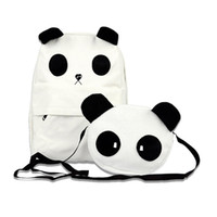ingrosso simpatico anime panda-2 pezzi 1 Set Panda Plush Backpack Animal Schoolbag Cartoon Anime Borsa a tracolla Cute panda Borse nero bianco peluche zaino