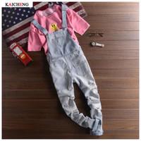 Wholesale jean jumpsuits clothing resale online - New Fashion Ripped Blue Mens Denim Jeans Men Clothing Casual Distrressed Jumpsuit Jeans Pants For Man