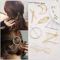 Wholesale hair pin vintage - Hair Pins Metal Hair Clip Vintage Circle Lip Moon Triangle Hair Pin Clip Hairpin Pretty Womens Girls Metal Jewelry Accessories GGA250 120pcs