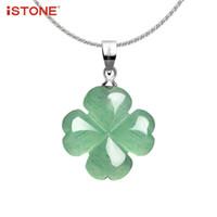 b2c7543247c1 colgante verde del trébol de la hoja al por mayor-iSTONE Unisex Collar de  Piedras