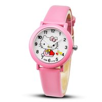 kitty strap großhandel-Hallo kitty cartoon uhren kind mädchen lederarmbänder armbanduhr kinder hellokitty quarzuhr niedlich uhr montre enfant