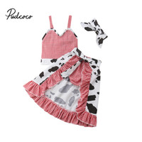 девушки шорты шорты девочек юбка оптовых-4pcs Kids Girl Plaid Summer Clothes Baby Strap Top Skirt Tail Shorts Cute Outfits Children Clothing Set Headband 1-5T