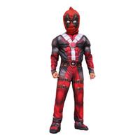 deadpool costume оптовых-Мальчики Хэллоуин Дедпул мускульный стиль Косплей костюмы 2018 Новый Kids Avengers Супергерой костюм косплей одежды + маска 2шт комплекты B