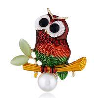 ingrosso resine di gufo-Creative Enamel Owl Animali Spilla Perno Resina Unisex Corpetto Spille Accessorio di gioielli moda per donna uomo