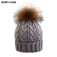 Wholesale Grey Fur Raccoon - 2015 Woolen Knitted Winter Hat Beanie With Fur For Girls Real Raccoon Pom Women Skullies Beanies Hats Caps Apparel Accessories