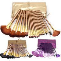 ingrosso spazzole di capelli di lusso-21 Pz / set Set di pennelli per trucco di lusso in oro Set di pennelli per trucco di capelli naturali Set di strumenti per trucco cosmetico professionale