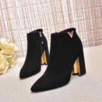Wholesale short suede heels resale online - Explode high heeled and multi hop short boots with external hardware buckle and imported elastic velvet and high CM size