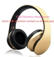 Wholesale great cell - AAA+ Quality Bluetooth 2.0 Wireless Headphones on ear Headsets for Smartphones with Great Bass Sealed Retail Box stereo sound headphones