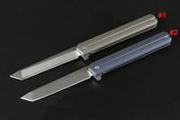 ingrosso pietre all'aria aperta-High End 2 Stili Coltello pieghevole Flipper D2 Stone Wash Tanto Blade TC4 Utensili in lega di titanio Outdoor Coltelli tascabili EDC