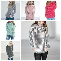 Wholesale Striped Maternity - striped double Hood Hooded Hoodies Sweatshirts Women Drawstring Pullovers Hoodie Patchwork Sweatshirt spring autumn Coat Maternity Tops