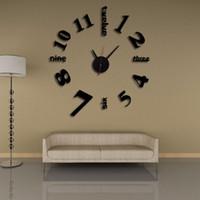 horloge murale numérique miroir achat en gros de-Stéréo DIY 3D Horloge Numérique Personnalité Longue Durée de Vie de Service de Montre Pour Décor À La Maison Mur Art Miroir Horloges Muet 12md BB