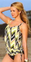 gelbe badebekleidung freies verschiffen großhandel-Freie Verschiffen-Art- und Weisezwei Stück-bescheidene Frauen-Damen-Badebekleidung Tankini-Badeanzüge-Wellen-Trangle-Bikini-Gelb