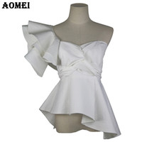 Wholesale ladies party blouses - Bold Should Off Women White Ruffles Blouse Sexy Tops Summer Casual Party Wear Shirt with Zipper Chemisier Femme Ladies Blusas