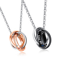 Wholesale cz promise rings - His Queen Her King Couples Engraved Ring Pendant Necklace Set Stainless Steel CZ Statement Necklaces Promise Love Wedding Jewelry Gift