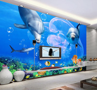 Wholesale Japan Tv Home - Wholesale-custom photo wall mural wallpaper-non-woven wallpaper Dolphin Great White Shark Underwater World TV Background Wall home decor
