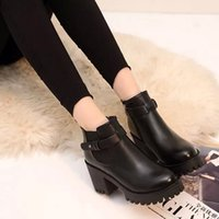 053cb5568c4d New autumn winter 2018 style pointed short boots waterproof platform thick  high-heeled shoes Korean version with velvet Martin boots and nud