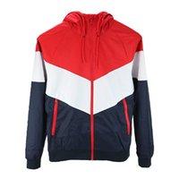 cortavientos rojo al por mayor-Diseñador chaqueta de moda para hombre chaqueta de abrigo para hombre con capucha casual activo al aire libre negro rojo cortavientos ropa S-2XL
